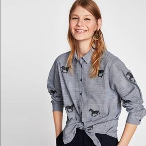 Zara Zebra Embroidered Button Down Shirt